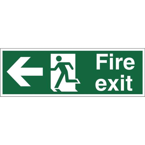 Stewart Superior Fire Exit Sign Man and Arrow Left W450xH150mm Self-adhesive Vinyl Ref SP120SAV