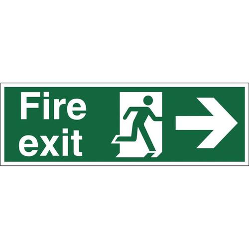 Stewart Superior Fire Exit Sign Man and Arrow Right W450xH150mm Self-adhesive Vinyl Ref SP121SAV