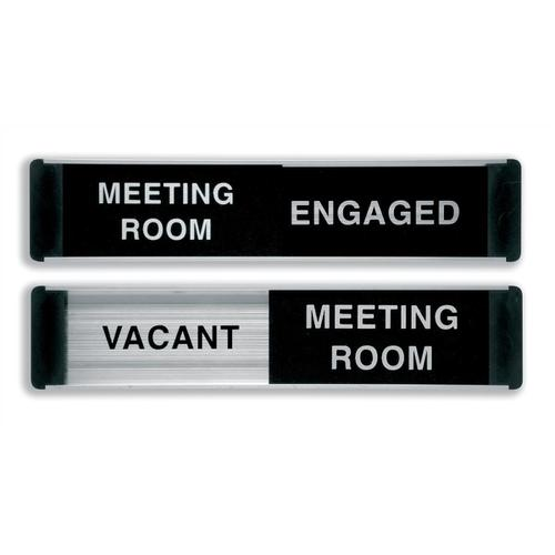 Stewart Superior Engaged/Vacant Meeting Room Door Panel Aluminium/PVC W255xH52mm Self-adhesive Ref BA101
