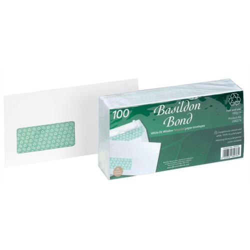 Basildon Bond Envelopes FSC Recycld Wallet P&S Window 120gsm DL 220x110mm White Ref D80276 [Pack 100]