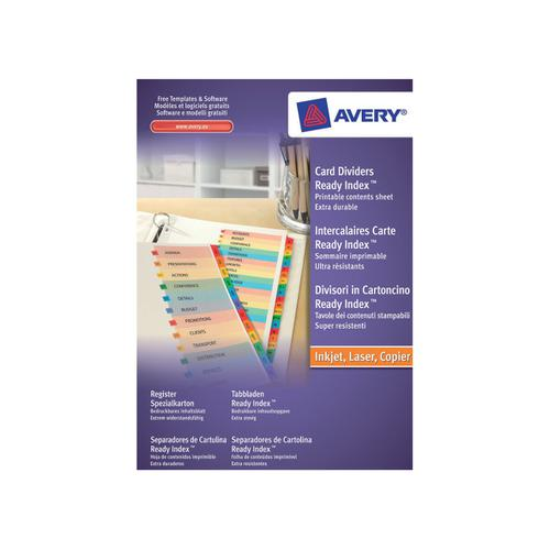Avery ReadyIndex Jan-Dec Punched Mylar-reinforced Multicolour-Tabs 200gsm A4 White Ref 02002501