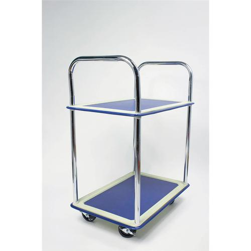 5 Star Facilities Trolley Lightweight Steel Frame 2 Shelf Capacity 120kg Chrome W470xD725xH950mm