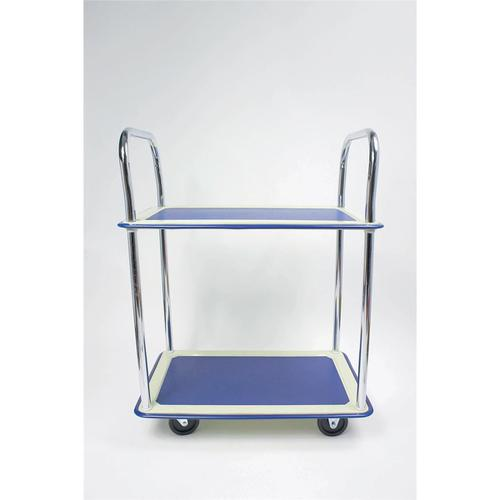 5 Star Facilities Trolley Lightweight Steel Frame 2 Shelf Capacity 120kg Chrome W470xD725xH950mm by The OT Group, 271608