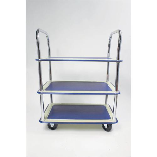 5 Star Facilities Trolley Lightweight Steel Frame 3 Shelf Capacity 120kg Chrome W470xD725xH950mm by The OT Group, 271616