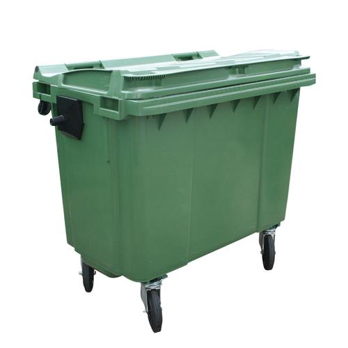 Four Wheeled Bin UV Stabilised Polyethylene 660 Litres 45kg 1350x770x1200mm Green
