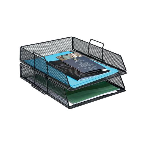 5 Star Office Mesh Letter Tray Scratch Resistant Stackable Front load Portrait Foolscap Black by The OT Group, 287878