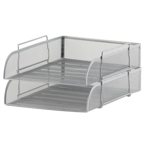 5 Star Office Mesh Letter Tray Scratch Resistant Stackable Front Load Portrait Foolscap Silver