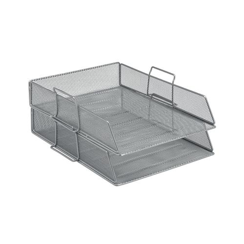5 Star Office Mesh Letter Tray Scratch Resistant Stackable Front Load Portrait Foolscap Silver by The OT Group, 287901