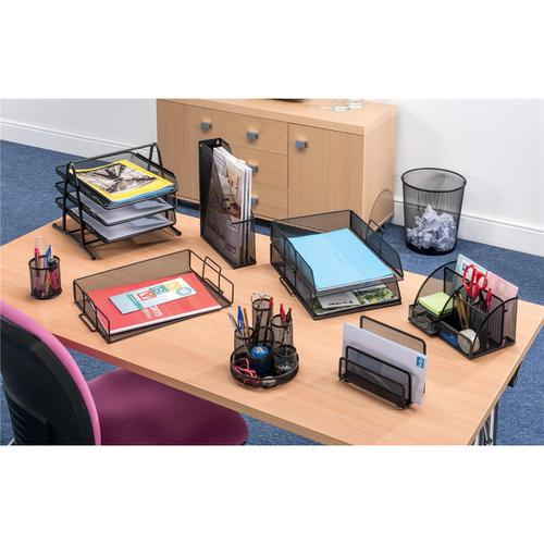 5 Star Office Mesh Letter Tray Scratch Resistant Stackable Side Load Landscape Foolscap Black by The OT Group, 287918