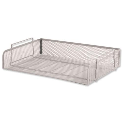 5 Star Office Mesh Letter Tray Scratch Resistant Stackable Side Load Landscape Foolscap Silver by The OT Group, 287926