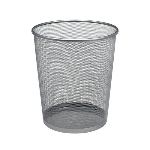 5 Star Office Mesh Waste Bin Lightweight Sturdy Scratch Resistant 15-20 Litres DxH 305x345mm Silver by The OT Group, 288021