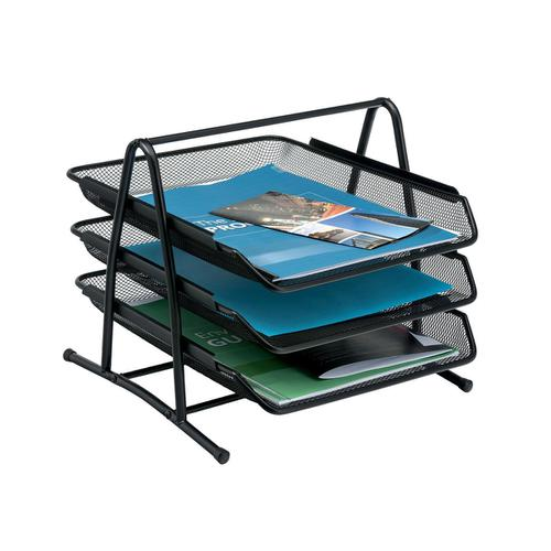 5 Star Office Mesh Letter Tray 3 Tier Scratch Resistant Stackable Front Load Portrait Foolscap Black by The OT Group, 288102