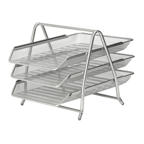 5 Star Office Mesh Letter Tray 3 Tier Scratch Resistant Stackable Front Load Portrait Foolscap Silver