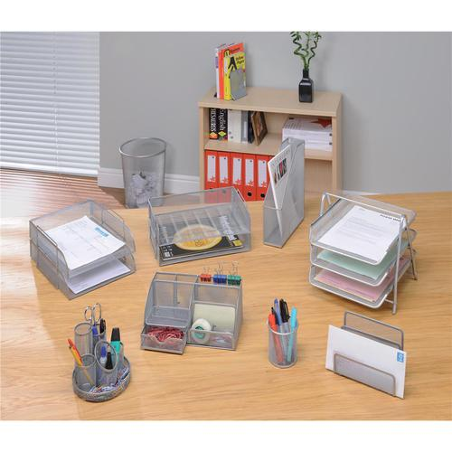 5 Star Office Mesh Letter Tray 3 Tier Scratch Resistant Stackable Front Load Portrait Foolscap Silver by The OT Group, 288110