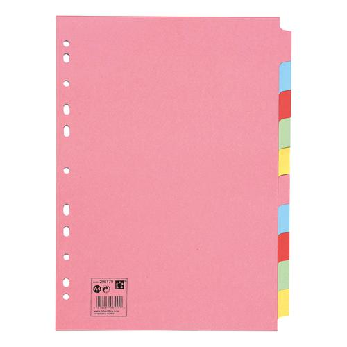 5 Star Office Subject Dividers 10-Part Recycled Card Multipunched 155gsm A4 Assorted by The OT Group, 295179