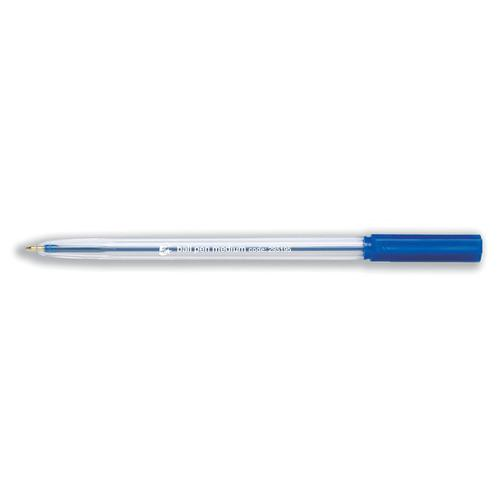 5 Star Office Ball Pen Clear Barrel Medium 1.0mm Tip 0.7mm Line Blue [Pack 50]