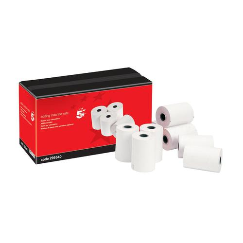 5 Star Office Adding Machine Paper Rolls 1Ply 55gsm TMP W57xD57x12.7mm 24m [Pack 20]