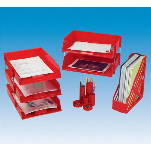 5 Star Office Letter Tray High-impact Polystyrene Foolscap Red by The OT Group, 295810