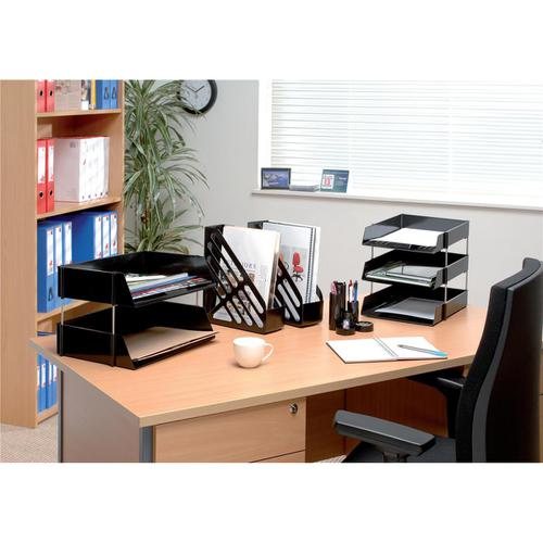 5 Star Office Desk Tidy with Variable Sized 6 Compartment Tubes Black by The OT Group, 295861