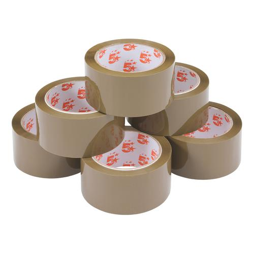 5 Star Office Packaging Tape Polypropylene 48mm x 66m Buff [Pack 6] by The OT Group, 295896