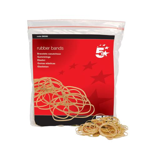 5 Star Office Rubber Bands No.16 Each 63x1.5mm Approx 2000 Bands [Bag 0.454kg]