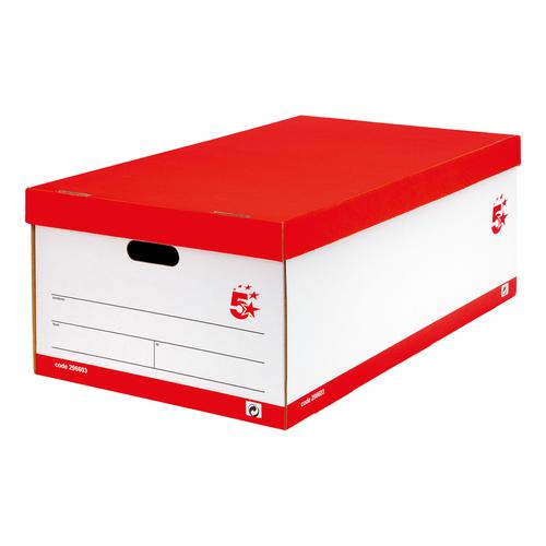 5 Star Office FSC Jumbo Storage Boxwith Lid Self-assembly W431xD725xH277mm Red & White [Pack 5]