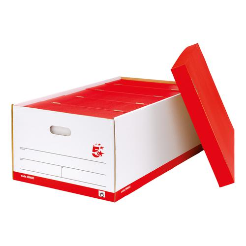 5 Star Office FSC Jumbo Storage Boxwith Lid Self-assembly W431xD725xH277mm Red & White [Pack 5] by The OT Group, 296603