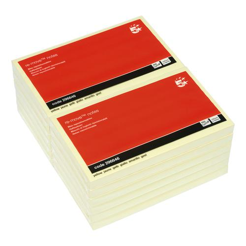 5 Star Office Re-Move Notes Repositionable Pad of 100 Sheets 76x127mm Yellow [Pack 12] by The OT Group, 296646