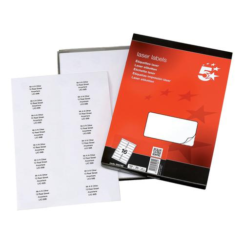 5 Star Office Multipurpose Labels Laser Copier Inkjet 16 per Sheet 99.1x34mm White [1600 Labels] by The OT Group, 296786