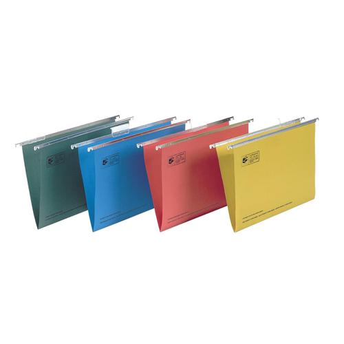 5 Star Office Suspension File with Tabs and Inserts Manilla 15mm V-base 180gsm Foolscap Green [Pack 50] by The OT Group, 296913