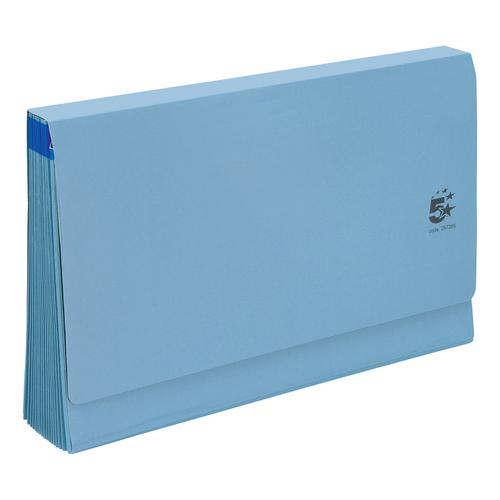 5 Star Office De Luxe Expanding File 16 Pockets 1-31 A-Z Jan-Dec Cardboard Cover Foolscap Blue