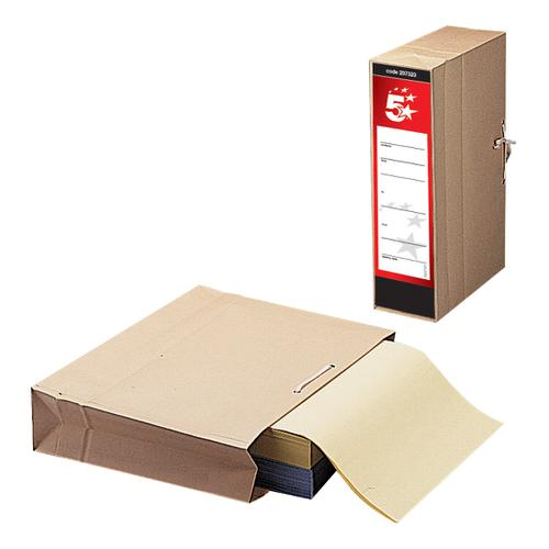 5 Star Office FSC Storage Bag with Dust Flap Foolscap 102mm Capacity 356x248mm [Pack 25]