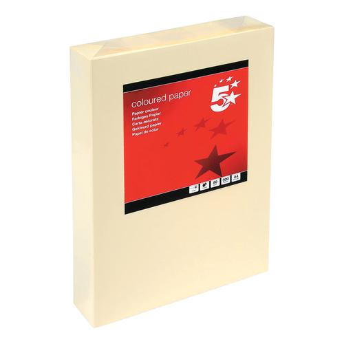 5 Star Office Coloured Copier Paper Multifunctional Ream-Wrapped 80gsm A4 Light Cream [500 Sheets]
