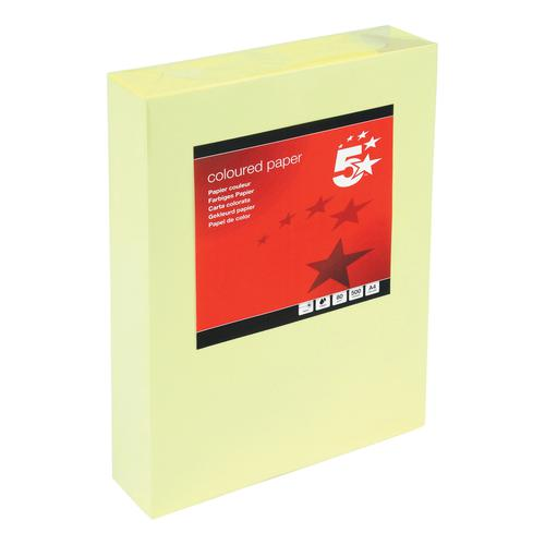 5 Star Office Coloured Copier Paper Multifunctional Ream-Wrapped 80gsm A4 Light Yellow [500 Sheets]