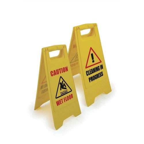 Single A Frame Sign 2 Sided 2 Messages Caution Wet Floor/Cleaning in Progress Yellow