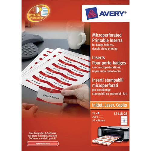 Avery Name Badges Laser-printable Refill Kit 8 per Sheet W86xH55mm Ref L7418-25UK [25 Sheets]