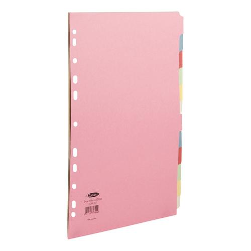 Concord Subject Dividers 12-Part Multipunched Extra Wide 160gsm Extra Wide A4+ Assorted Ref 71799/J17