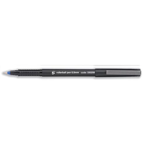 5 Star Office Rollerball Pen Fine 0.5mm Tip 0.3mm Line Blue [Pack 12]