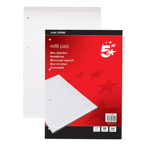 5 Star Office Refill Pad Headbound 60gsm Ruled Margin Punched 4 Holes 160pp A4 Red [Pack 10]
