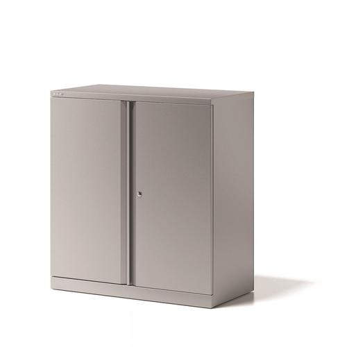 Bisley Two Door Steel Storage Cupboard 914x470x1000-1015mm Grey Ref YECB0910/1S