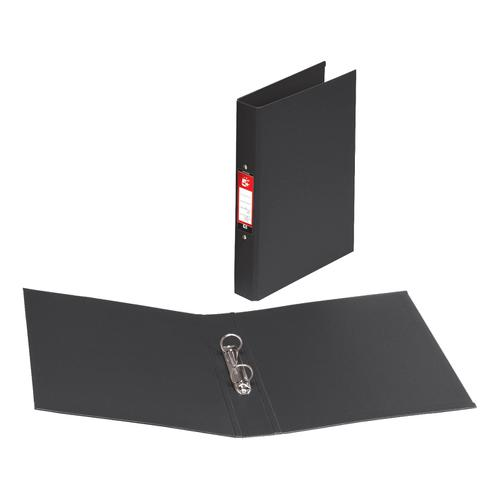 5 Star Office Ring Binder 2 O-Ring Size 25mm Polypropylene A4 Black [Pack 10]