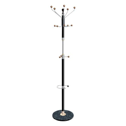 5 Star Facilities Coat Stand with Umbrella Holder 5 Pegs 5 Hooks Base 380mm Height 1820mm Black/Chrome
