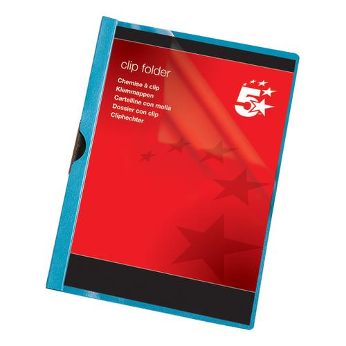 5 Star Office Clip Folder 3mm Spine for 30 Sheets A4 Blue [Pack 25]