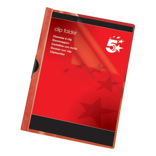5 Star Office Clip Folder 3mm Spine for 30 Sheets A4 Red [Pack 25]
