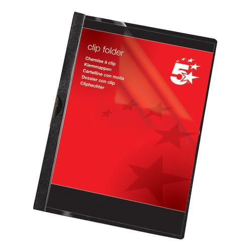 5 Star Office Clip Folder 6mm Spine for 60 Sheets A4 Black [Pack 25]