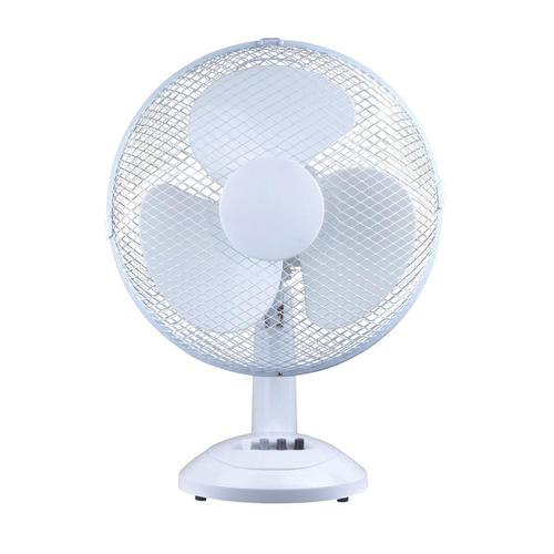 5 Star Facilities Desk Fan 12 Inch 90deg Oscillating with Tilt & Lock 3-Speed H480mm Dia.305mm White by The OT Group, 356483