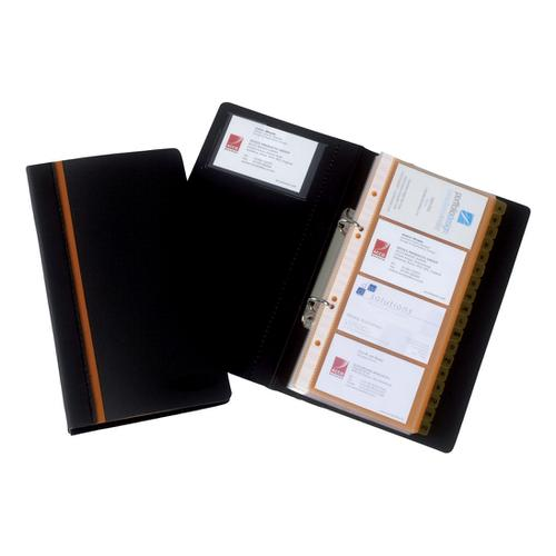 Rexel Business Card Book Professional Ring Binder with A-Z Index Capacity 128 Cards Ref 2101131