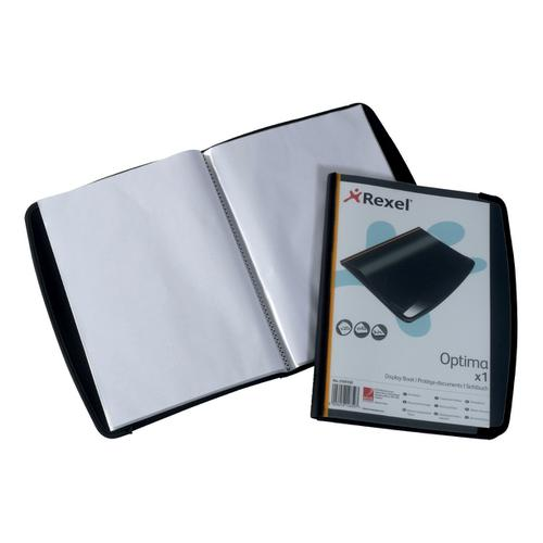 Rexel Optima Display Book Professional 20 Pockets Front Cover Pocket A4 Black Ref 2101130