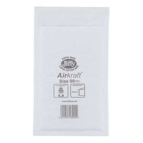 Jiffy Airkraft Bag Bubble-lined Peel and Seal Size 00 115x195mm White Ref JL-00 [Pack 100]