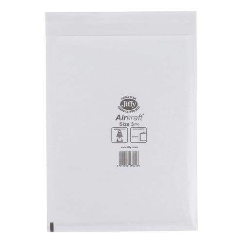Jiffy Airkraft Bag Bubble-lined Size 3 Peel and Seal 220x320mm White Ref JL-3 [Pack 50]